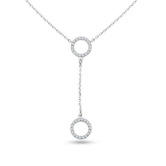 Billede af By Pind halskæde sølv rhodineret med 2 cirkler med zirkonia sten (39-43 cm)