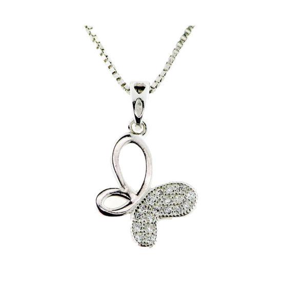 Billede af *By Pind halskæde sølv rhodineret med sommerfugl vedhæng med zirkonia sten med kæde