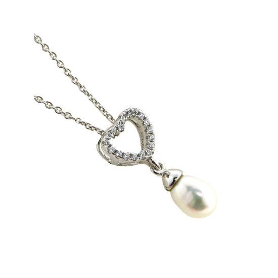 Billede af By Pind halskæde sølv rhodineret med ferskvandsperle vedhæng med zirkonia sten med kæde (40, 45 eller 50 cm)