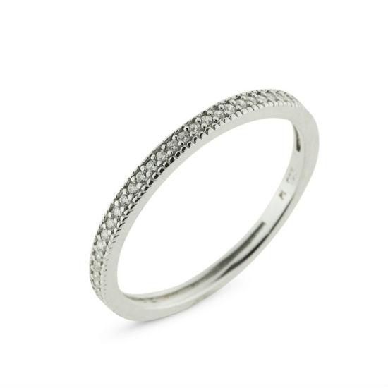 Billede af By Pind ring sølv rhodineret med zirkoniasten str. 59