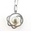 Billede af By Pind halskæde sølv rhodineret med ferskvandsperle og zirkoniasten