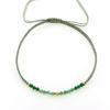 Billede af By Pind Colorful knyttet armbånd støvet grøn med mix sten og sølv forgyldte kugler