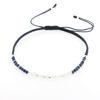 Billede af By Pind Colorful knyttet armbånd mørkeblå lapis og månesten sten og sølv