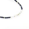 Billede af By Pind Colorful knyttet armbånd mørkeblå lapis og månesten sten og sølv forgyldte kugler