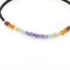 Billede af By Pind Colorful knyttet armbånd sort med regnbue sten og sølv kugler