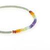 Billede af By Pind Colorful knyttet armbånd støvet grøn,med regnbue sten og sølv