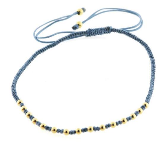 Billede af Classic by Pind Colorful ,knyttet armbånd demin blå med sølvfg kugler