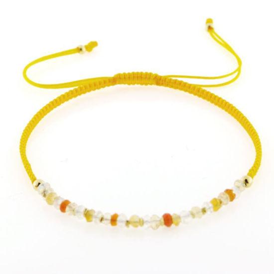 Billede af By Pind Colorful knyttet armbånd gult,med ildopaler og sølv