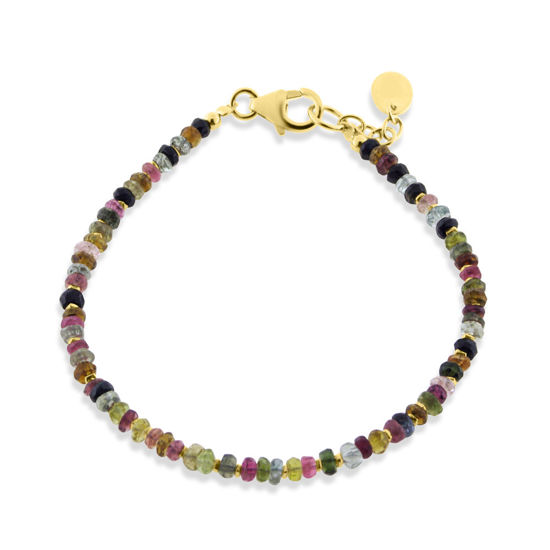 Billede af By Pind  Colorful armbånd  med mix turmelin,sølvforgyldt