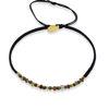 Billede af By Pind Colorful knyttet armbånd sølv forgyldt sort med rhodalit, pyrit og turmelin