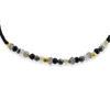 Billede af By Pind Colorful knyttet armbånd sølv forgyldt sort med bjergkrystal, pyrit og spinel