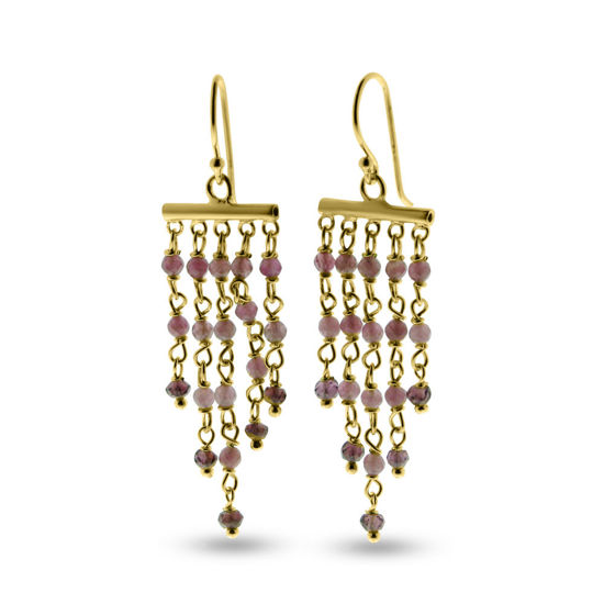 Billede af By Pind Colorful Chandelier ørehænger med pink turmelin,rhodolit,sølvforgyldt