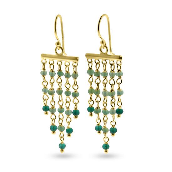 Billede af By Pind Colorful Chandelier ørehænger med crysopras, grøn onyx, sølvforgyldt