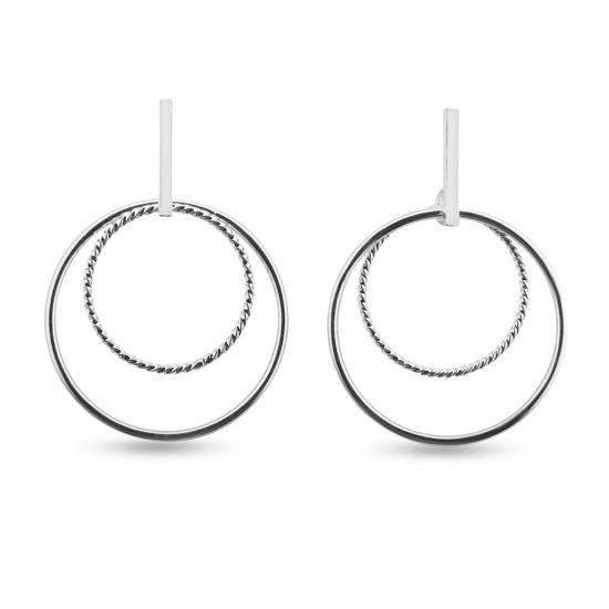 Billede af By Pind ørestik sølv dobbelt cirkel vedhæng
