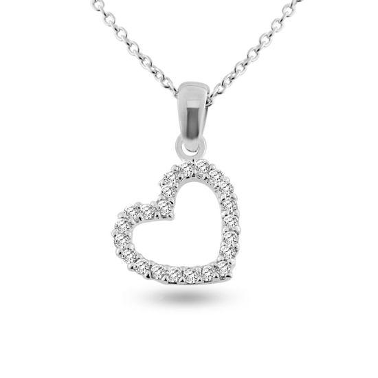 Billede af By Pind halskæde sølv åben paveret hjerte med zirkoniasten (45 cm)