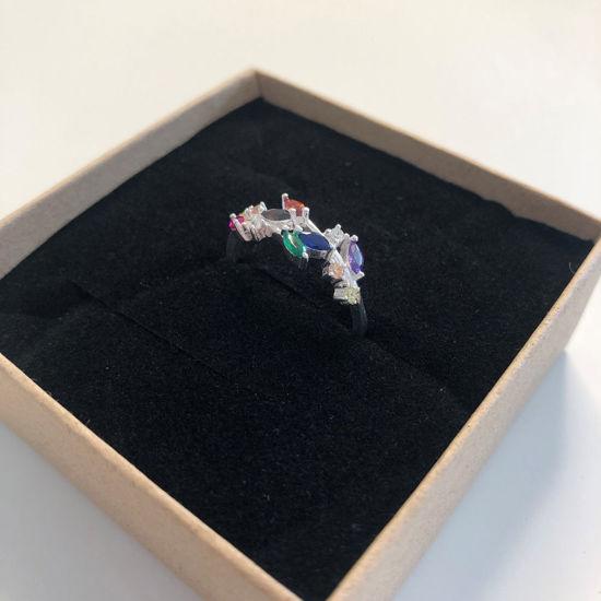 Billede af By Pind ring sølv 'Rainbow' med farvede zirkoniasten (str 52-57)