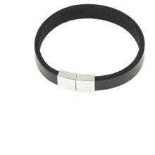 Billede af Men by Pind armbånd  sort læder stål lås 20cm