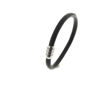 Billede af Men by Pind armbånd  sort læder stål lås