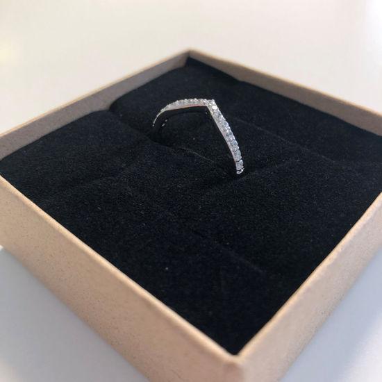 Billede af By Pind ring sølv rhodineret med zirkoniasten str 52