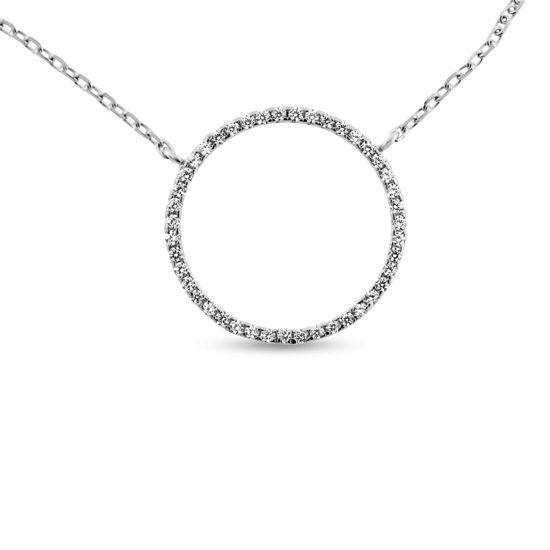 Billede af By Pind halskæde sølv rhodineret cirkel 20mm med zirkoniasten (40+5 cm)