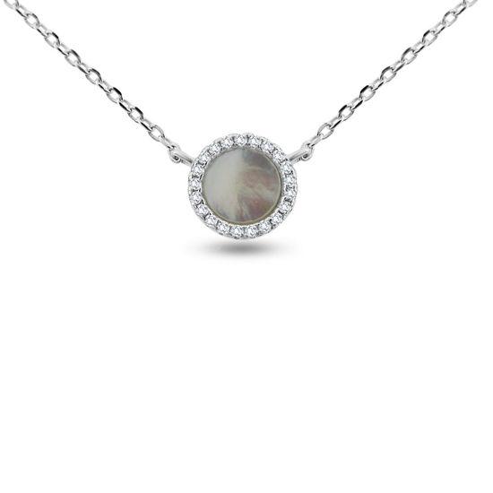 Billede af Classic by Pind halskæde sølv rhodineret med vedhæng med hvid perlemor  og zirkonia.40+5cm