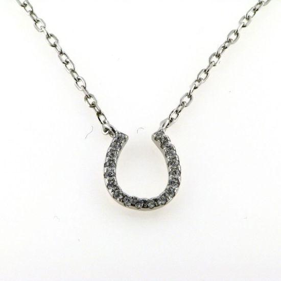Billede af *By Pind halskæde sølv rhodineret med hestesko zirkoniasten 40+5cm