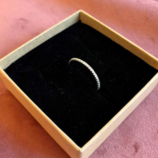 Billede af By Pind ring sølv rhodineret med zirkoniasten str. 49