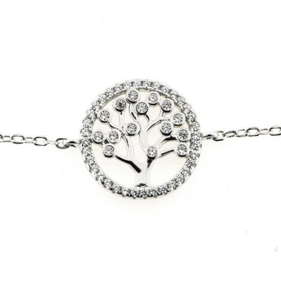 """Billede af By Pind armbånd sølv rhodineret """"Livets træ"""" zirkoniasten (16+3cm)"""