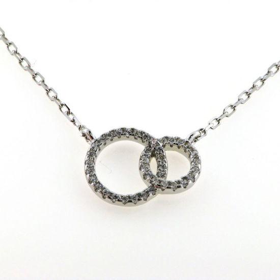 Billede af Classic by Pind halskæde m dobbeltcirkel sølv rhd syn.zir.,40+5cm
