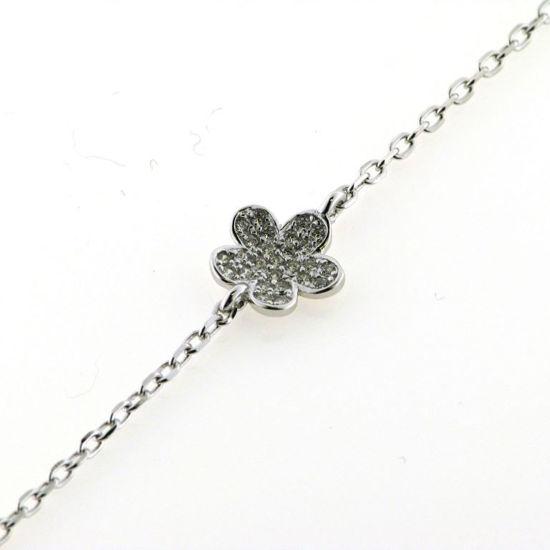 Billede af *By Pind armbånd med blomst sølv rhodineret med zirkonia,16+3cm