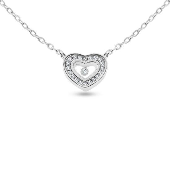 Billede af Classic by Pind halskæde med hjerte sølv rhodineret med zirkonia 40+5cm