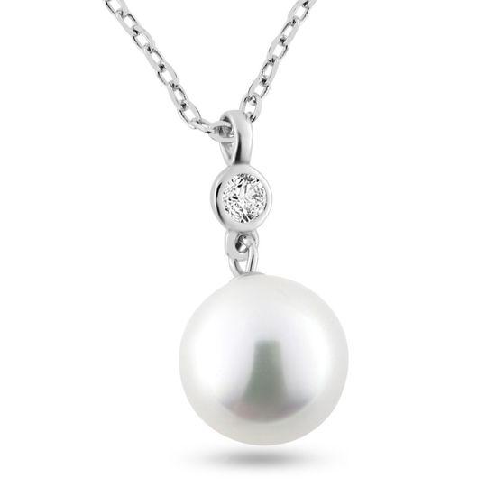 Billede af By Pind halskæde sølv rhodineret med vedhæng med hvid perle og zirkonia.40+5cm