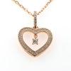 Billede af Classic by Pind halskæde sølv rosaforgyldt med vedhæng hjerte med zirkonia.40+5cm