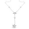 Billede af Classic by Pind Y-halskæde sølv rhodineret med vedhæng stjerner med zirkonia.40+5cm