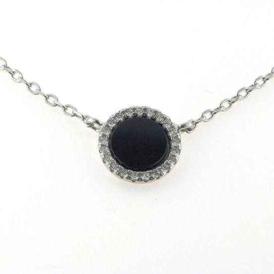 Billede af *By Pind halskæde sølv rhodineret med vedhæng med sort onyx  og zirkonia.40+5cm
