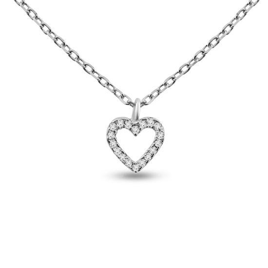 Billede af By Pind halskæde sølv rhodineret åben hjerte med zirkoniasten (40+5 cm)
