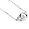 Billede af Classic by Pind halskæde med dobbeltcirkel sølv rhodineret med zirkonia  40+5cm