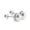 Billede af By Pind ørestikker sølv rhodineret med hvid ferskvandsperle