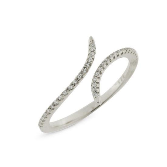 Billede af By Pind ring sølv rhodineret åben med zirkoniasten