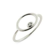 Billede af By Pind ring sølv rhodineret cirkel med zirkoniasten rørfatning str. 55