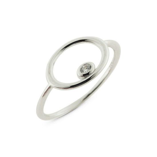 Billede af By Pind ring sølv rhodineret cirkel med zirkoniasten rørfatning (str. 55-58)