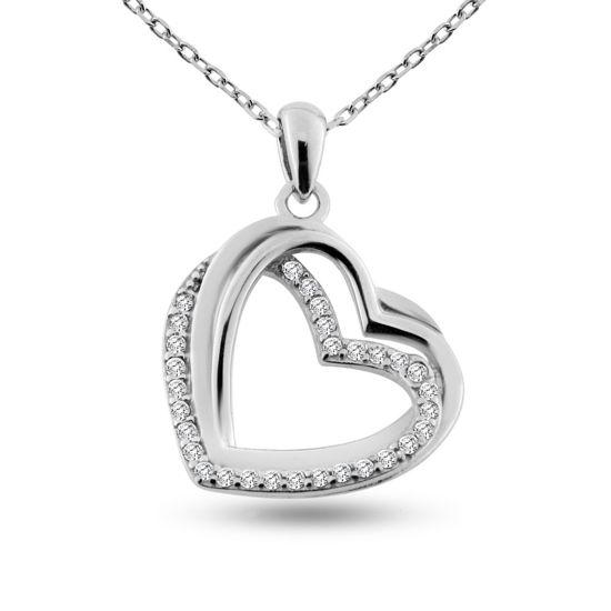 Billede af By Pind halskæde sølv rhodineret dobbelt hjerte zirkoniasten