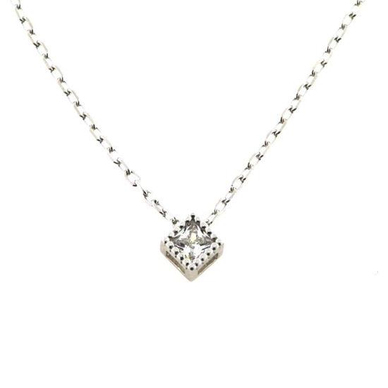 Billede af Classic by Pind halskæde sølv rhod med synt.zirkonia firkantet fatning 40+5cm