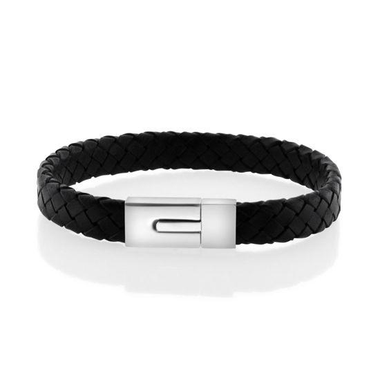 Billede af Men by Pind armbånd  sort læder stål lås (18-24cm)