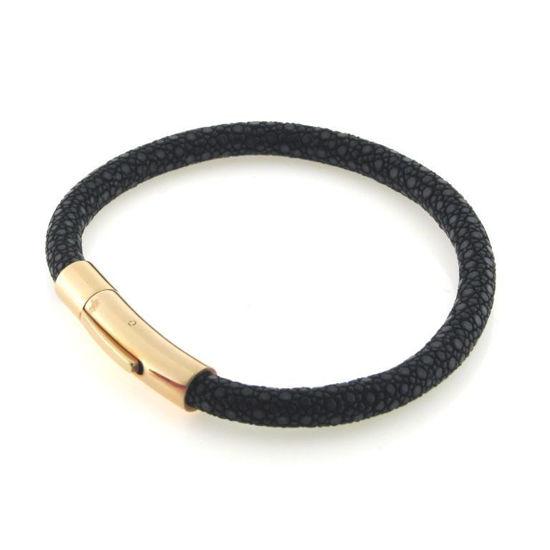 Billede af Men by Pind armbånd  sort rokkeskind med rosa stål lås 18 cm