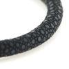 Billede af Men by Pind armbånd  sort rokkeskind med rosa stål lås (18-22cm)