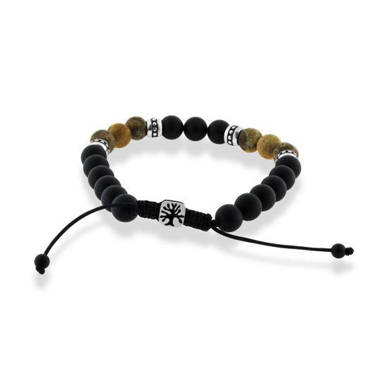 Billede af Men by Pind armbånd justerbart med sorte og gyldne sten og stål led