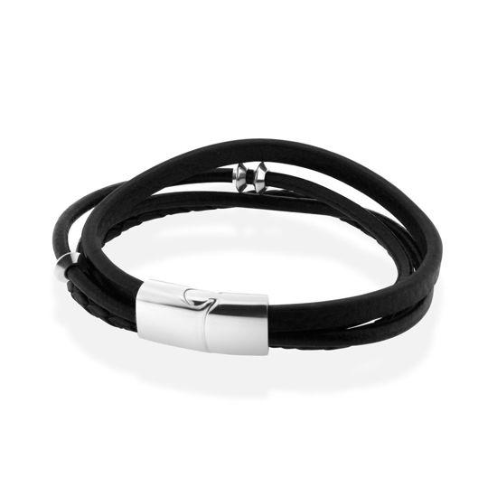 Billede af Men by Pind 4 streget sort læder armbånd med  blank stål lås 24cm