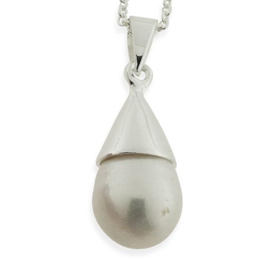 Billede af By Pind halskæde dråbeformet perle vedhæng sølv rund ankerkæde (45cm)