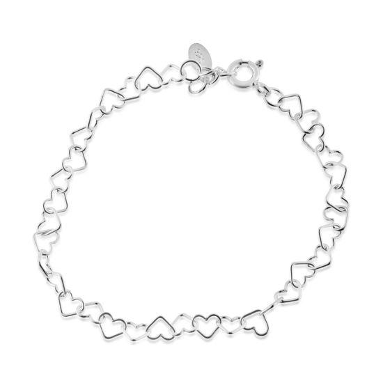Billede af By Pind armbånd sølv med hjerter 16+2cm